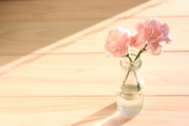 母の日_ピンクカーネーションと花瓶